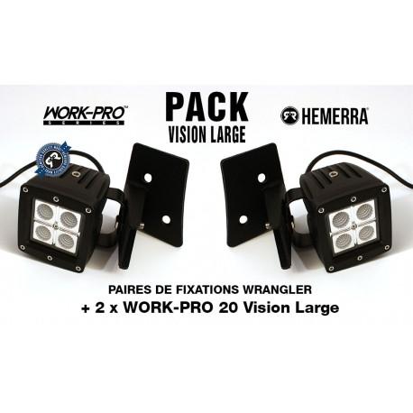 Pack 2xWORK-PRO Vision Large + 2xFixations Wrangler